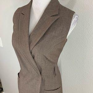 Calvin Klein Dresses - Calvin Klein brown sleeveless faux wrap dress